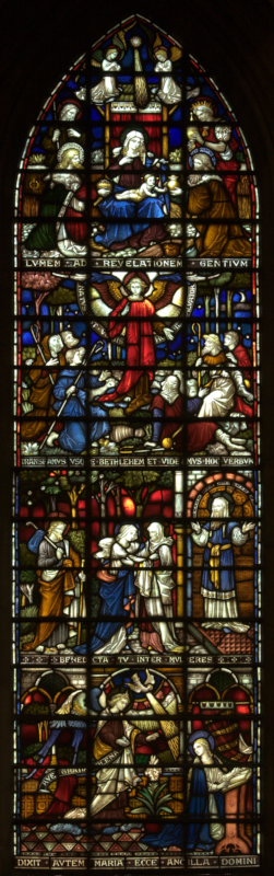 The left-hand light of the lower east window