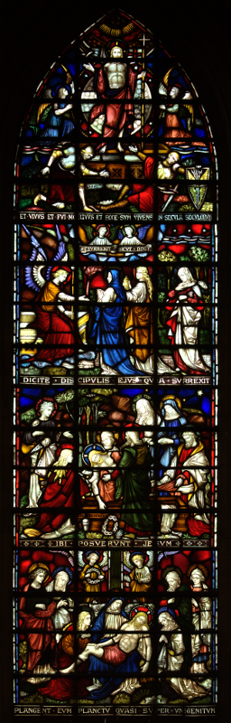 The right-hand light of the lower east window