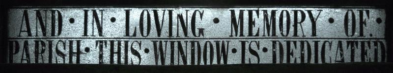 Inscription at bottom of centre light