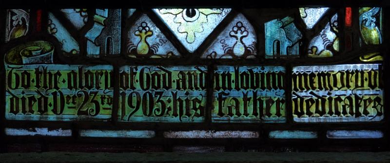 Inscription at base of left-hand light