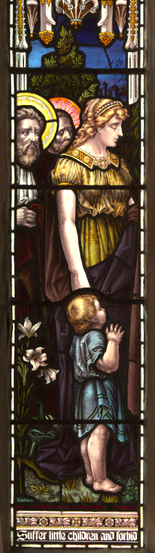 Left-hand light: two disciples, woman and child.