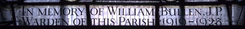 Inscription at bottom of left-hand light